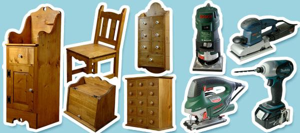 カントリー家具と電動工具の紹介